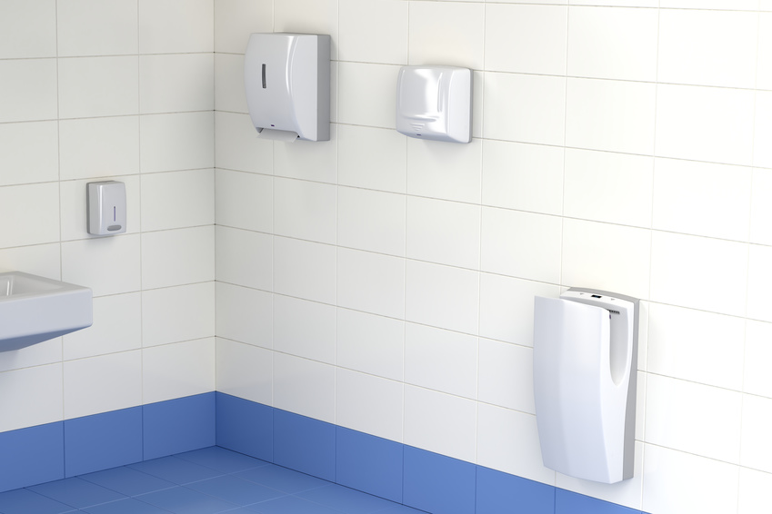 Three different types of hand dryers in the toilet
